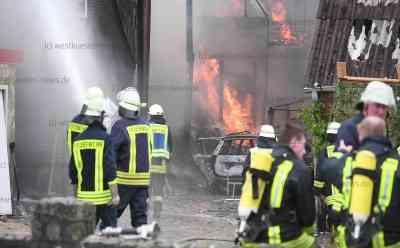 Rund 1.000 Schweine verendet: Großer Stall lichterloh in Flammen: Über 120 Feuerwehrkräfte mit zwei Drehleitern im Einsatz - Dachstuhl des Stalls stürzte ein - Feuerwehr versucht Ställe zu belüften und Schweine vor Rauch zu schützen